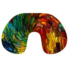 Stained Glass Patterns Colorful Travel Neck Pillows