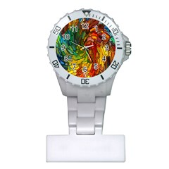Stained Glass Patterns Colorful Plastic Nurses Watch