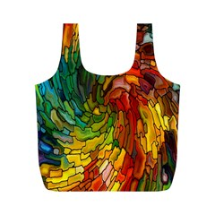 Stained Glass Patterns Colorful Full Print Recycle Bags (M)