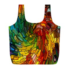 Stained Glass Patterns Colorful Full Print Recycle Bags (l)