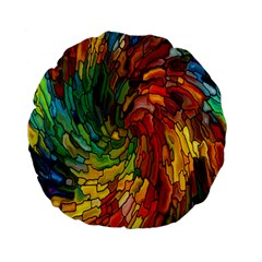 Stained Glass Patterns Colorful Standard 15  Premium Flano Round Cushions