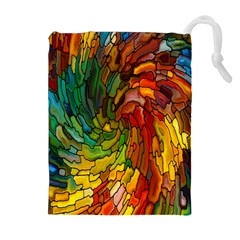 Stained Glass Patterns Colorful Drawstring Pouches (extra Large)