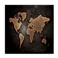 Grunge Map Of Earth Tile Coasters