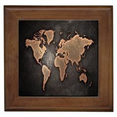 Grunge Map Of Earth Framed Tiles