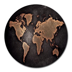 Grunge Map Of Earth Round Mousepads