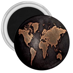 Grunge Map Of Earth 3  Magnets