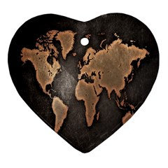 Grunge Map Of Earth Ornament (Heart)