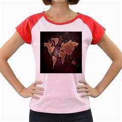 Grunge Map Of Earth Women s Cap Sleeve T Shirt