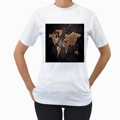 Grunge Map Of Earth Women s T Shirt (white) (two Sided)