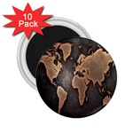 Grunge Map Of Earth 2.25  Magnets (10 pack)  Front
