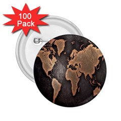 Grunge Map Of Earth 2.25  Buttons (100 pack)