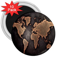 Grunge Map Of Earth 3  Magnets (10 Pack)