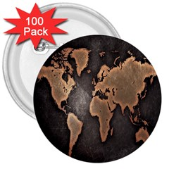 Grunge Map Of Earth 3  Buttons (100 Pack)
