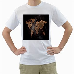 Grunge Map Of Earth Men s T Shirt (white) (two Sided)