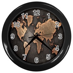 Grunge Map Of Earth Wall Clocks (Black)