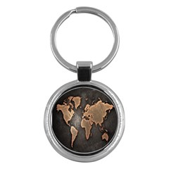 Grunge Map Of Earth Key Chains (round)