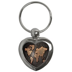Grunge Map Of Earth Key Chains (heart)