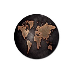 Grunge Map Of Earth Rubber Coaster (round)