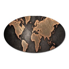 Grunge Map Of Earth Oval Magnet