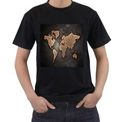 Grunge Map Of Earth Men s T Shirt (black) (two Sided)