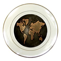 Grunge Map Of Earth Porcelain Plates