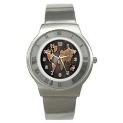 Grunge Map Of Earth Stainless Steel Watch