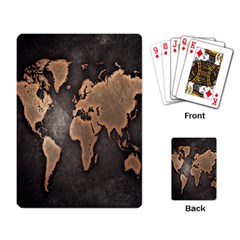 Grunge Map Of Earth Playing Card