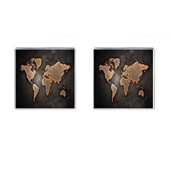 Grunge Map Of Earth Cufflinks (square)