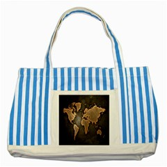 Grunge Map Of Earth Striped Blue Tote Bag