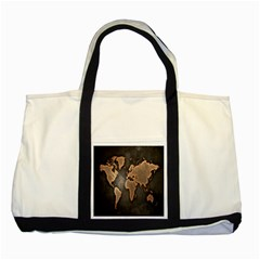 Grunge Map Of Earth Two Tone Tote Bag