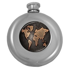 Grunge Map Of Earth Round Hip Flask (5 Oz)