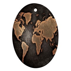 Grunge Map Of Earth Oval Ornament (two Sides)