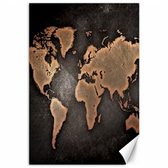 Grunge Map Of Earth Canvas 12  X 18