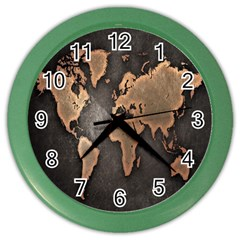 Grunge Map Of Earth Color Wall Clocks