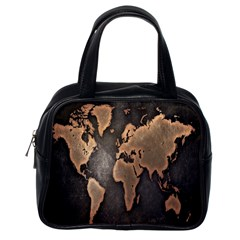 Grunge Map Of Earth Classic Handbags (one Side)