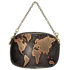 Grunge Map Of Earth Chain Purses (one Side)