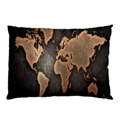 Grunge Map Of Earth Pillow Case
