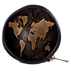 Grunge Map Of Earth Mini Makeup Bags