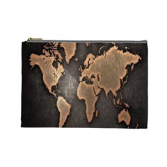 Grunge Map Of Earth Cosmetic Bag (large)