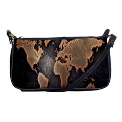 Grunge Map Of Earth Shoulder Clutch Bags
