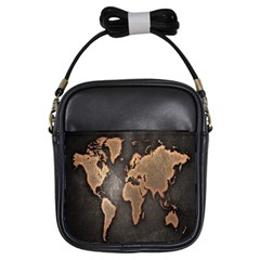 Grunge Map Of Earth Girls Sling Bags
