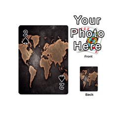 Grunge Map Of Earth Playing Cards 54 (mini)