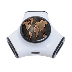Grunge Map Of Earth 3-Port USB Hub