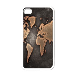 Grunge Map Of Earth Apple iPhone 4 Case (White)