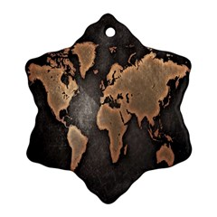 Grunge Map Of Earth Snowflake Ornament (two Sides)