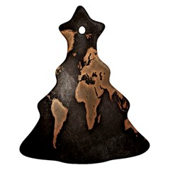 Grunge Map Of Earth Christmas Tree Ornament (two Sides)