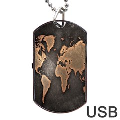 Grunge Map Of Earth Dog Tag Usb Flash (one Side)