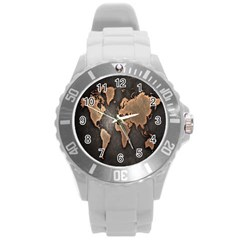 Grunge Map Of Earth Round Plastic Sport Watch (L)
