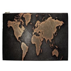 Grunge Map Of Earth Cosmetic Bag (xxl)