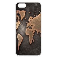 Grunge Map Of Earth Apple iPhone 5 Seamless Case (White)